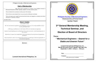 3 rd  General Membership Meeting,  Technical Seminar, and  Election of Board of Directors