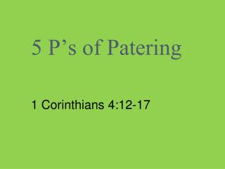 5 P�s of Patering