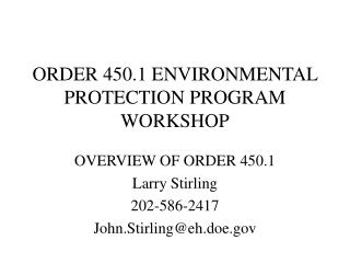 ORDER 450.1 ENVIRONMENTAL PROTECTION PROGRAM WORKSHOP