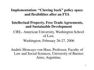 "Implementation: ""Clawing back"" policy space and flexibilities after an FTA"