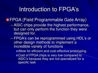 Introduction to FPGA's