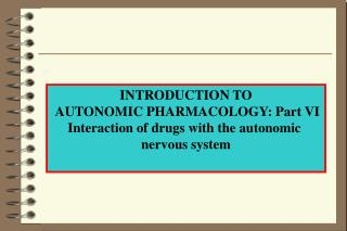 INTRODUCTION TO  AUTONOMIC PHARMACOLOGY: Part VI Interaction of drugs with the autonomic
