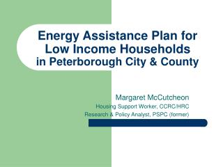 Energy Assistance Plan for Low Income Households  in Peterborough City & County