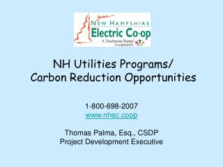 NH Utilities Programs/ Carbon Reduction Opportunities