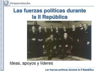 Las fuerzas políticas durante  la II República