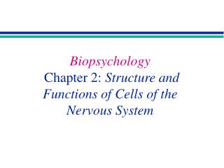Biopsychology Chapter 2:  Structure and Functions of Cells of the  Nervous System