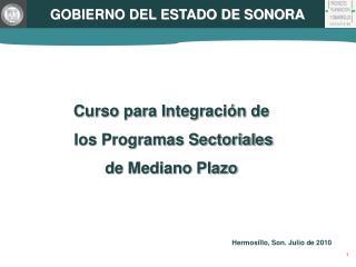 Curso para Integración de  los Programas Sectoriales de Mediano Plazo