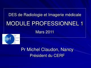 DES de Radiologie et Imagerie médicale MODULE PROFESSIONNEL 1  Mars 2011