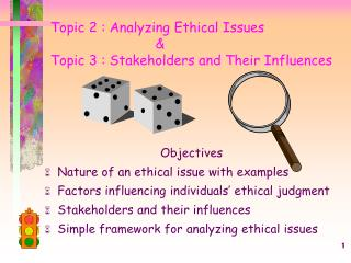 Topic 2 : Analyzing Ethical Issues 			& Topic 3 : Stakeholders and Their Influences