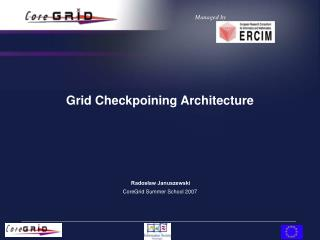 Grid Checkpoining Architecture