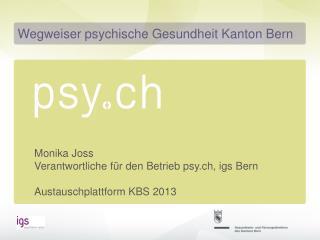 Monika Joss Verantwortliche für den Betrieb psy.ch, igs Bern Austauschplattform KBS 2013