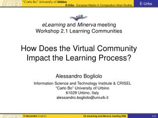 """Information Science and Technology Institute & CRISEL """"Carlo Bo"""" University of Urbino"""