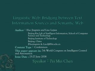 Linguistic Web: Bridging between Text Information Sources and Semantic Web