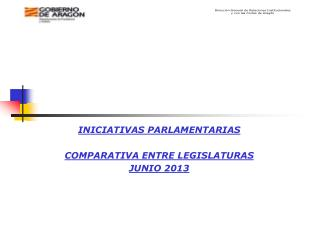 INICIATIVAS PARLAMENTARIAS COMPARATIVA ENTRE LEGISLATURAS JUNIO 2013