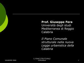 Prof. Giuseppe Fera Universit� degli studi Mediterranea di Reggio Calabria