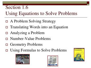 Section 1.6 Using Equations to Solve Problems