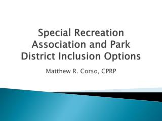 Special Recreation Association and Park District Inclusion Options