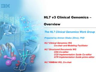 HL7 v3 Clinical Genomics –  Overview