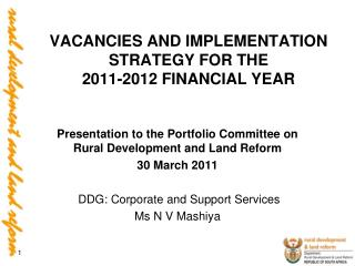 VACANCIES AND IMPLEMENTATION STRATEGY FOR THE  2011-2012 FINANCIAL YEAR