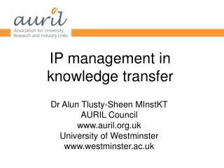 IP management in knowledge transfer