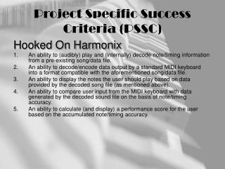 Project Specific Success Criteria (PSSC)