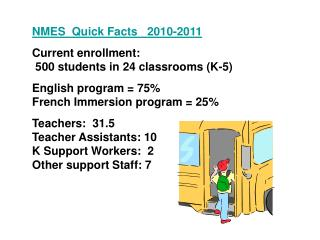 NMES  Quick Facts   2010-2011 Current enrollment:  500 students in 24 classrooms (K-5)