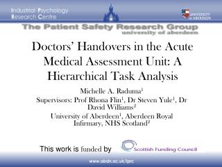 Doctors' Handovers in the Acute Medical Assessment Unit: A Hierarchical Task Analysis