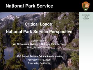 Critical Loads: National Park Service Perspective Ellen Porter