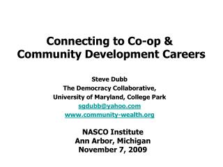 Connecting to Co-op &  Community Development Careers