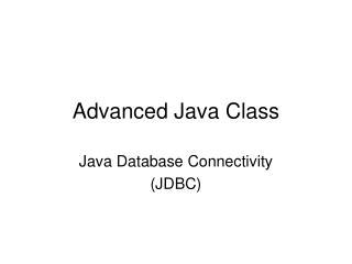 Advanced Java Class