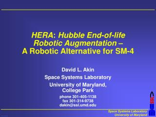 HERA :  Hubble End-of-life Robotic Augmentation  – A Robotic Alternative for SM-4