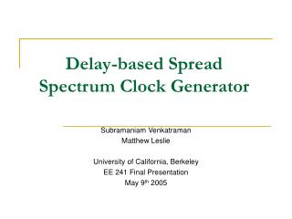 Delay-based Spread Spectrum Clock Generator