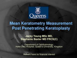 Mean Keratometry Measurement Post Penetrating Keratoplasty