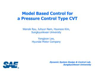 Model Based Control for  a Pressure Control Type CVT