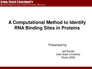 A Computational Method to Identify RNA Binding Sites in Proteins