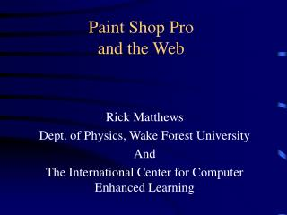 Paint Shop Pro and the Web