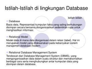 Istilah-Istilah di lingkungan Database