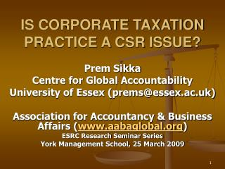 IS CORPORATE TAXATION PRACTICE A CSR ISSUE