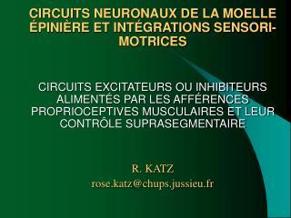 CIRCUITS NEURONAUX DE LA MOELLE ÉPINIÈRE ET INTÉGRATIONS SENSORI-MOTRICES