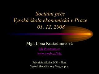 Sociální péče Vysoká škola ekonomická v Praze  01. 12. 2008