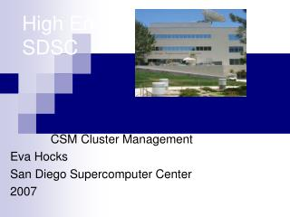 High End Computing at SDSC