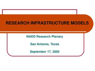RESEARCH INFRASTRUCTURE MODELS