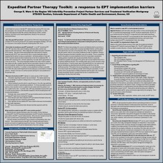 Expedited Partner Therapy Toolkit:  a response to EPT implementation barriers