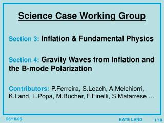 Science Case Working Group