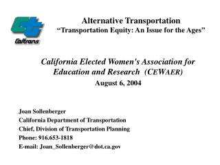 "Alternative Transportation ""Transportation Equity: An Issue for the Ages"""