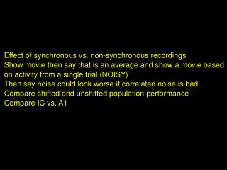Effect of synchronous vs. non-synchronous recordings