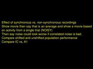 Effect of synchronous vs. non-synchronous recordings
