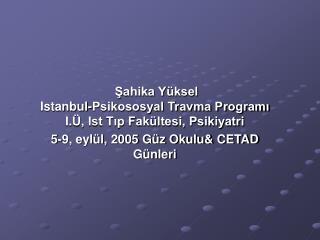 Şahika Yüksel Istanbul-Psikososyal Travma Programı I.Ü, Ist Tıp Fakültesi, Psikiyatri