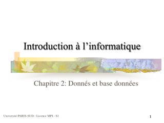 Introduction à l'informatique