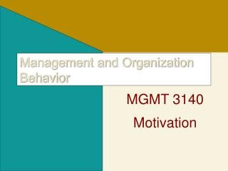Management and Organization Behavior